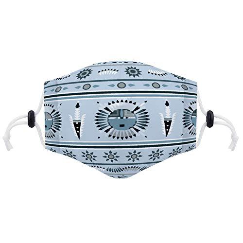 Protector facial (con dos filtros) bohemio patrón antipolvo cara ajustable pasamontañas con papel de filtro para niños, adolescentes, hombres, mujeres