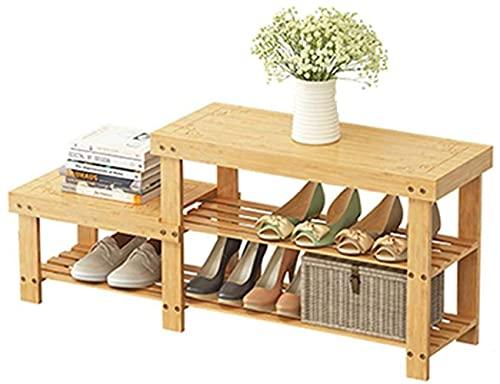 ZAIHW Zapatero Economía Perchas para el hogar Dormitorio Doble Zapatero Vestíbulo Porche Tallado Zapatos Altos y Bajos Banco 88x26x55cm Taburete para Cambiar Zapatos