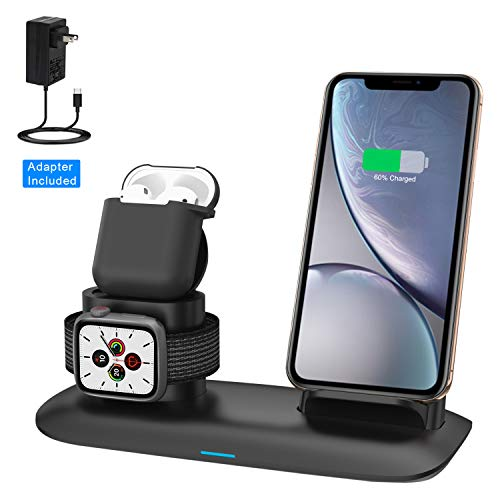 Wireless Charger, Wireless Charging Station for iPhone AirPods and Apple Watch, 3-in-1 Qi 7.5W/10W Fast Charging Stand Works for iPhone 11/11 Pro/8/8 Plus/Xs MAX/XS/XR and iWatch Series 5 4 3 2 1