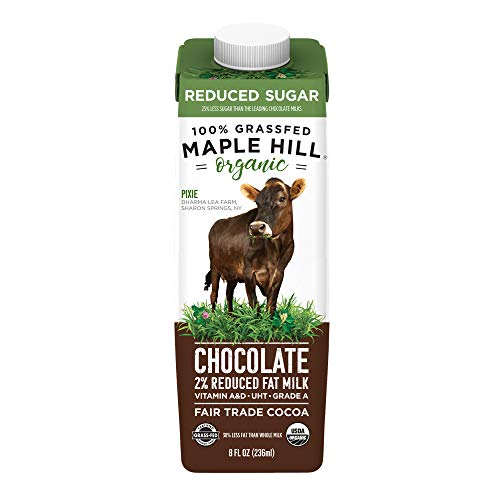 Maple Hill Shelf Stable 2% Reduced Fat Reduced Sugar Chocolate Milk 100% Grass-Fed, Organic, Non-GMO: 16-Pack 8Fl Oz Aseptic Milk Boxes