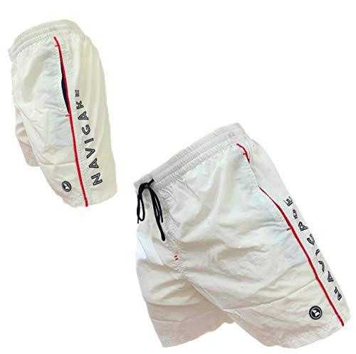 costume mare uomo napapijri Navigare Boxer Mare Costume Uomo Pantaloncini da Bagno Swim Short Anche in Taglie conformate (Bianco 24-98370