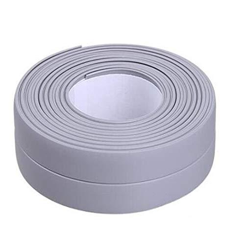 125.9inch Water Proof Tape Caulk Strip PVC Self Adhesive Kitchen Tape Caulking Sealing Tape for Sink Toilet Bathroom Shower Bathtub Wall Corner(Grey, 125.9x0.9in)