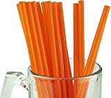 Made in USA Pack of 250 Jumbo Orange (10' X 0.28') Individually Wrapped Plastic Smoothie Drinking Straws (FDA-approved, Non-toxic, BPA-free)