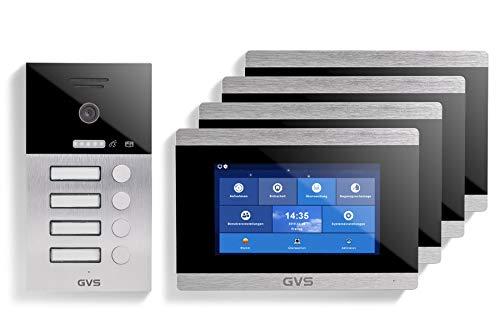 GVS AVS1034U - Videoportero IP de 4 cables, estación de puerta empotrada IP65, monitor de 4 x 7 pulgadas, aplicación, cámara HD de 120 °, función de apertura de puerta, 32 GB de memoria, conmutador PoE, 4 casas familiares.