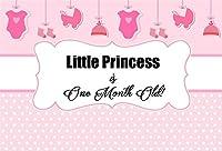 lfeey 7x 5ft SweetピンクGirls 1か月古いパーティー写真バックドロップLittle Princess Baby Big Momentsマイルストーン写真背景写真スタジオ小道具