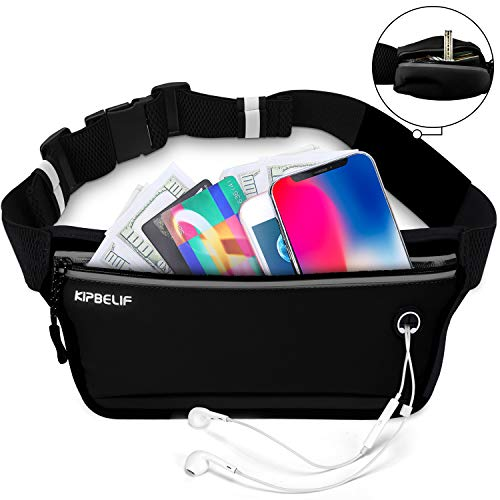 KIPBELIF Fanny Pack for Running for Workout - Waterproof Fitness Running Belt Phone Holder for Women & Men, with Side Pouch, for Small & Large Waists