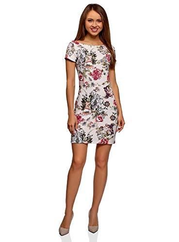 oodji Ultra Damen Tailliertes Kleid mit Kurzen Ärmeln, Rosa, DE 42 / EU 44 / XL