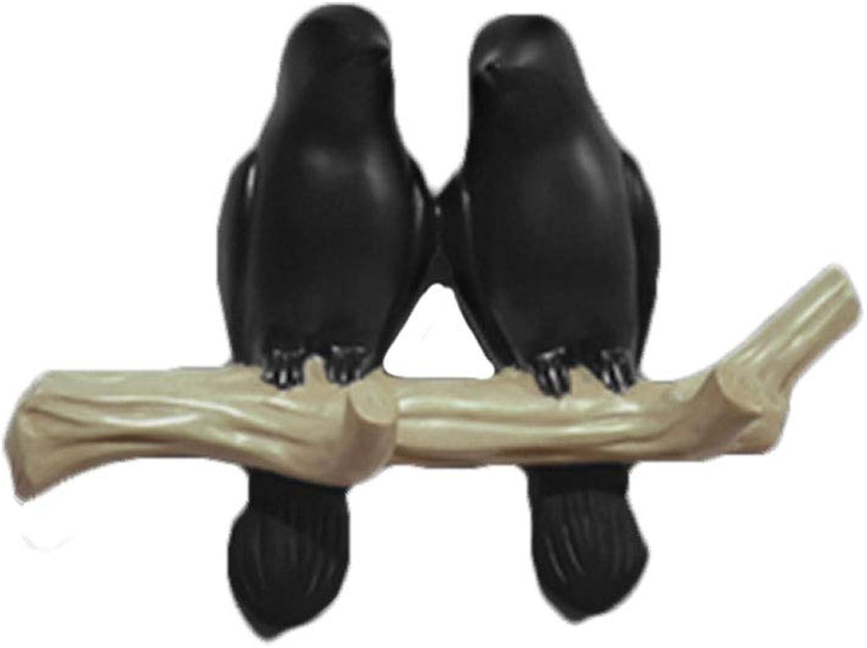 American Bird Hook Wall Coat Rack Wall Decoration Key Holder Black (Size   20cm)