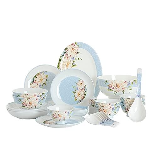 28 PCS Set Vajilla De Hueso Vajilla China Vajilla Conjunto Azul Floral Vintage Cerámica Japonés Bento Cajas Placas De Placa Cocina Accesorios Cocinas Botas, Placas, Placas, Cucharas