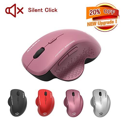 AKSEA Kabellose Maus, Leise klick 2.4G in voller Größe Kabellose Optische Ergonomische Maus Kabellos, 3 einstellbare DPI-Stufen, 6 Tasten Maus mit USB Empfänger für PC/Laptop/Android Tablet (Violett)