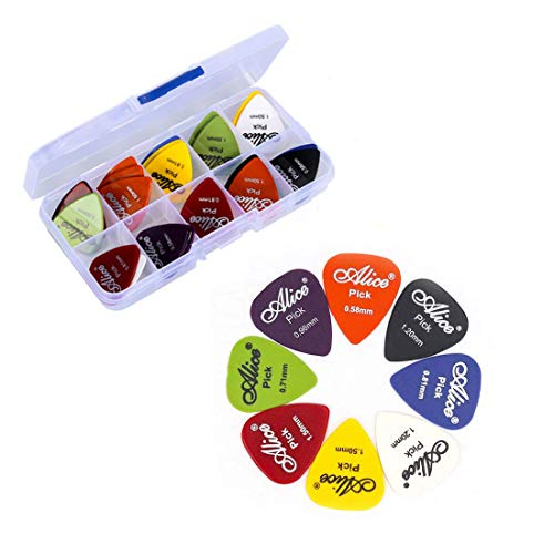 60 Stück Plektrum, wertige Plektren, Gitarrenplektren, Satte Farben Gitarren Plektrum, mix von 6 Größen 0.58/0.71/0.81/0.96/1.20/1.50 (mm), für Akustikgitarre, Bass, Ukulele, und E-Gitarren