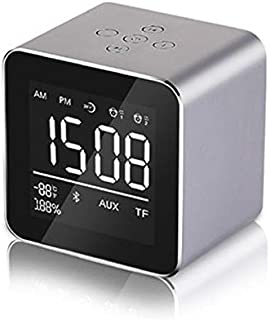 LED Alarm Clock with FM Radios Wireless Speaker Bluetooth Support Aux TF USB Wireless Music Player for Office Bedroom