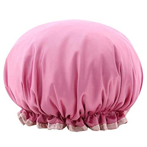 Bonnet de Douche imperméable Premium pour Femmes élastique Bonnet de Douche Lady Salon Spa Grand Bonnet de Bain Diam 27cm (Rose Hot)