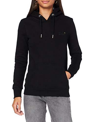 Superdry Womens ORANGE Label Overhead Hooded Sweatshirt, Black, M (Herstellergröße:12)