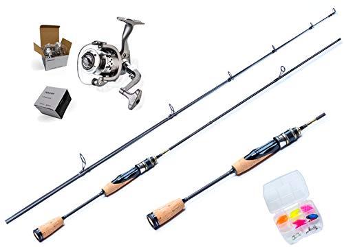 Ultralight Angelset komplett Ready for Fishing ! 180cm UL-Carbonrute + Angelrolle SC2000 mit Schnur + Köderset. Spinnrute - Steckrute - extrem biegsam