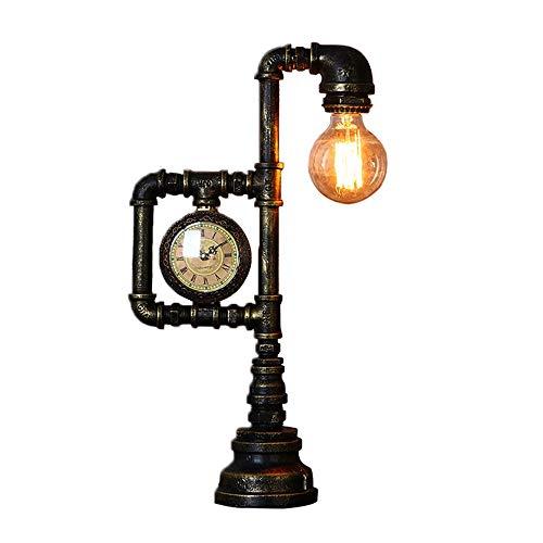LLAN Vintage Schreibtischlampe, Motent Industrial Retro Steampunk Wasserpfeife Tischleuchte, Antik Rost Eisen Schreibtisch Akzent Leuchte mit Uhr, 10,6
