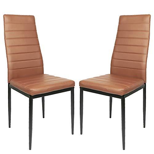 Sarah 2-er Set, Esszimmerstuhl mit Hoher Rückenlehne, Küchenstuhl Set, Wohnzimmerstuhl, Braun