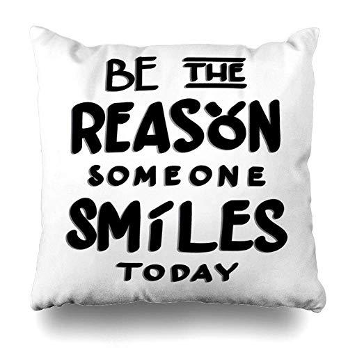 Mesllings - Funda de cojín con texto en inglés 'Be Reason Someone Live Smiles Abstracto Alfabeto Believe Doodle Drawn Design para decoración del hogar, tamaño cuadrado, 40,6 x 40,6 cm, funda de cojín con cremallera