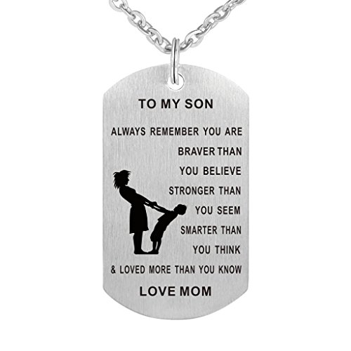 Mom To Son Dog Tag Necklace