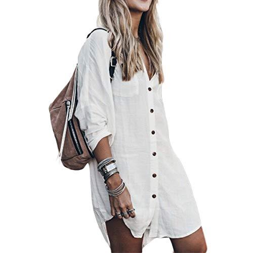 Tops Casuales de Manga Larga de Las Mujeres, Blusa de Lino de algodón Vestido Alto bajo Dobladillo Camisa (Color : White, Size : S)