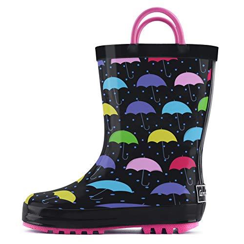 landchief Children's Rubber Printed Rain Boots Waterproof Rain Boots for Toddlers & Little/Big Kids, US13 Little Kid, Black Multi