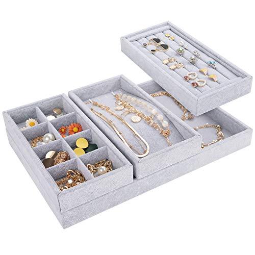 Mebbay Drawer Organizer 4 in 1 Stackable Velvet Jewelry Trays Organizer, Bracelet Ring Storage (Grey)