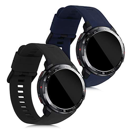 kwmobile 2X Pulsera Compatible con Huawei Honor Watch GS Pro - Brazalete de Silicona Negro/Azul Oscuro sin Fitness Tracker