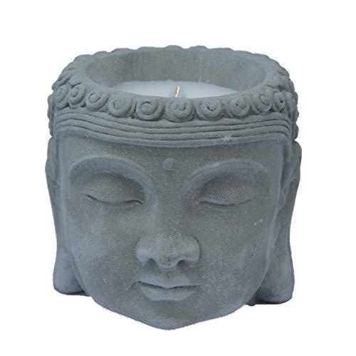 Hogar y Mas Vela Citronela Cabeza de Buda, Velas Anti-Mosquitos. Decoración Budista Cerámica 13x13 cm