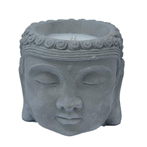 HOGAR Y MAS Vela Citronela Cabeza de Buda, Velas Anti-Mosquitos. Decoración Budista Cerámica 13x13 c