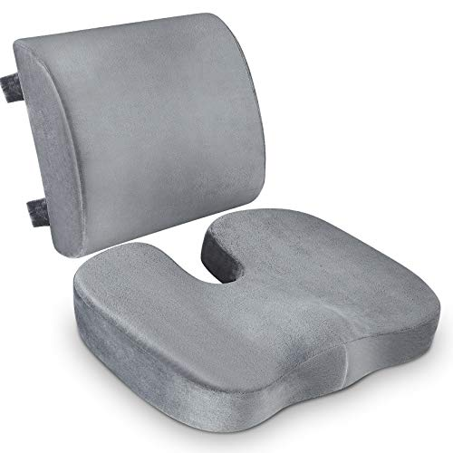 Coccyx Seat Cushion & Lumbar Support Pillow for Office Chair, Car, Wheelchair Memory Foam Chair Cushion for Sciatica, Lower Back&Tailbone Pain Relief Desk Pad with Adjustable Strap Washable Cover Grey