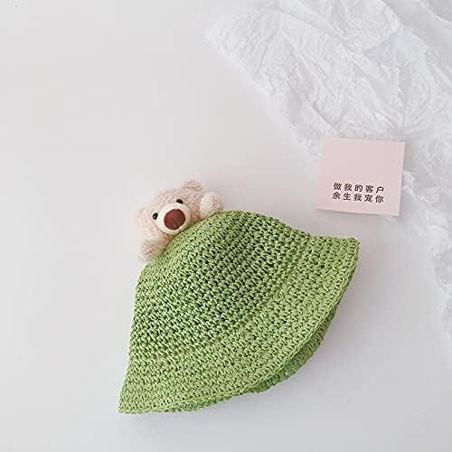 FAMYNGL hat Lovely Cartoon Summer Baby Sun Hats Straw Hats Fisherman Hats Kids Boys Girls Beach Caps (Color : Green, Size : 52CM)