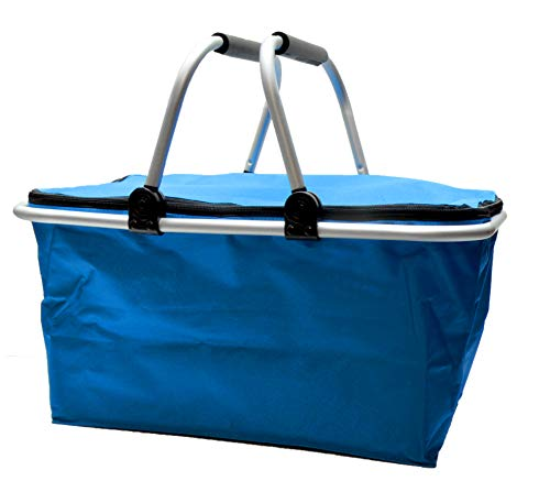 e-Best Cesta de la compra térmica con asas acolchadas, aislante, bolsa isotérmica, cesta de pícnic, bolsa térmica, nevera plegable, color azul