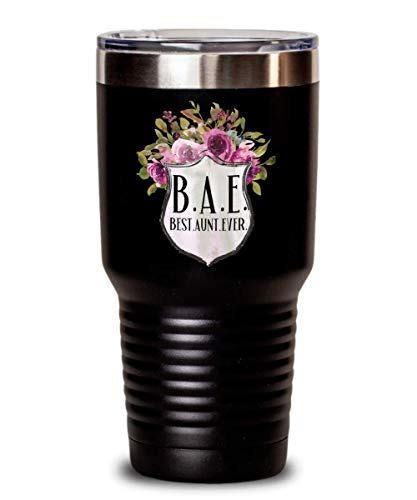 BAE Best Aunt Ever Tumbler Gift for Auntie Aunty Mug Floral Coffee Comment Tea Cup for Women Pregnancy Announcment