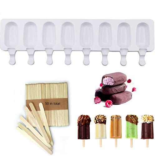 DIY Réutilisable Silicone Moule À Crème Glacée Pop Ice Lolly Moule Maker Cake baton de glace Moule cake Idéal Pour Les Enfants et Les Adultes(8 ovles)