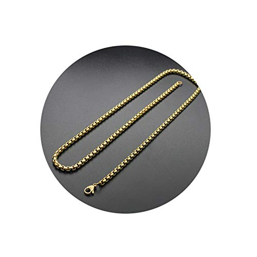 Aeici Collar Hombre Hip Hop Cadena Belcher Collares para Hombres Oro Largo 75Cm