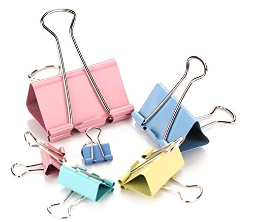 Fireboomoon Binder Clips, Assorted Sizes, Multicolor, 72 per Pack Binder Clips,Metal Clips,Spring-Tight Clip,Office Clip,Mini Binder Clips,Color Coated Clips,Metal Binder Clips,Binder Clips Large