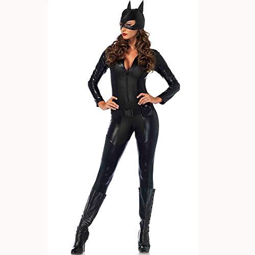 NIERJIU Halloween Sexy Tute Sexy delle Donne Nightclub DS Costumi di Scena Pole Dance One-Piece Vernice Pelle Costumi di Scena Catwoman Uniformi Moto,Cromo,S
