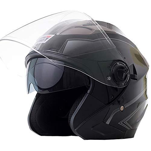 SUNHORSE バイクヘルメット ジェット ヘルメット 軽量 Bike Helmet 四季通用 半帽 カッコいいヘルメット 防風防雨メット おしゃれなバイクヘルメット 内張り丸脱着可 L(58-59cm)艶黒・灰