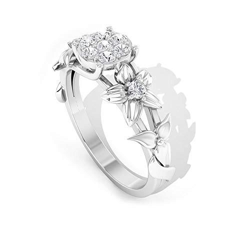 Anillo de metal mixto de diamante certificado SGL de 0,23 quilates, declaración de aniversario, HI-SI claridad de color, anillo de boda de diamantes, 18K Oro blanco, Size:EU 57