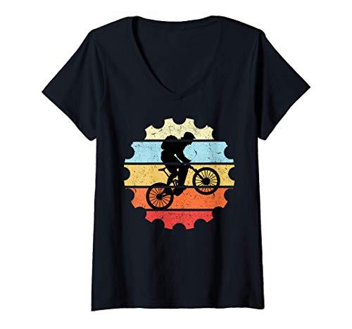 Womens Mountain Bike Vintage Bicycle Bike MTB Mountain Biking V-Neck T-Shirt