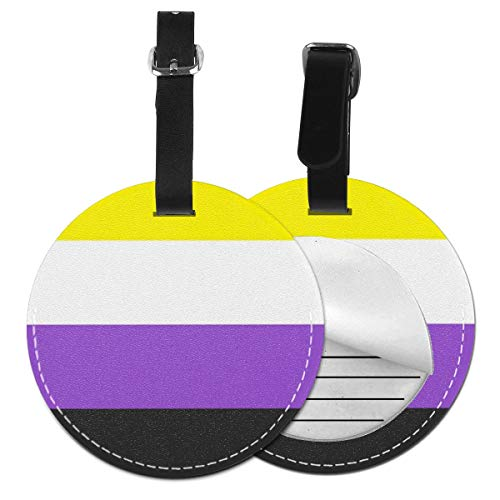 Luggage Tags Nonbinary Pride Flag Suitcase Luggage Tags Business Card Holder Travel ID Bag Tag