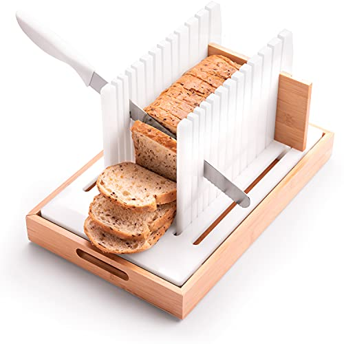 Bread Slicer - Cutting Guide for Homemade Bread - Adjustable, Compactable, Customizable Loaf, Bagel, Bun Slicer with Crumb Tray and Long blade knife