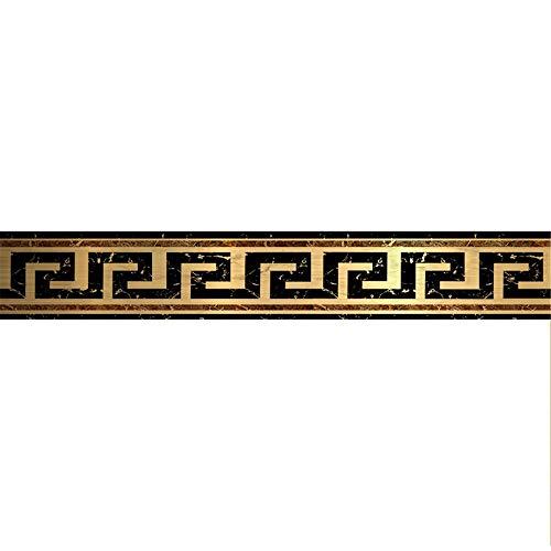 Cenefa de papel pintado impermeable para habitación de los niños Retro Gilt 4D Rejilla extraíble Cintura adhesivo de pared Zócalo PVC decorativo para baño, sala de estar y cocina 10 cm x 500 cm