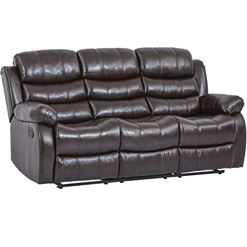 Recliner Chair Reclining Sofa Couch Sofa Leather Home Theater Seating Manual Recliner Motion for Living Room (Three Seat, Brown)