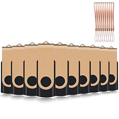 EASTBULL 4GB USB-Stick 2.0 Flash Laufwerke Speicherstick, 10 stück Gold