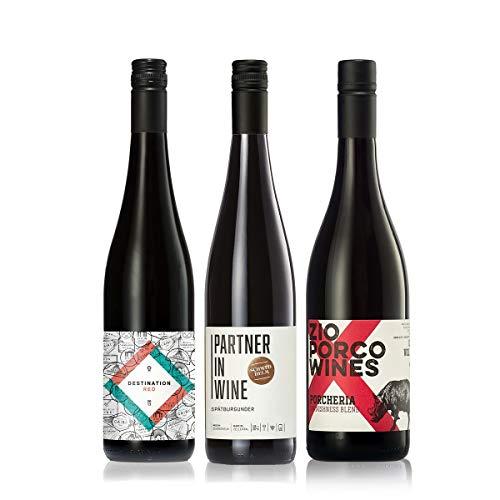 GEILE WEINE Weinpaket Rotwein trocken klein (3 x 0,75l) Bester Rotwein aus Deutschland und Italien