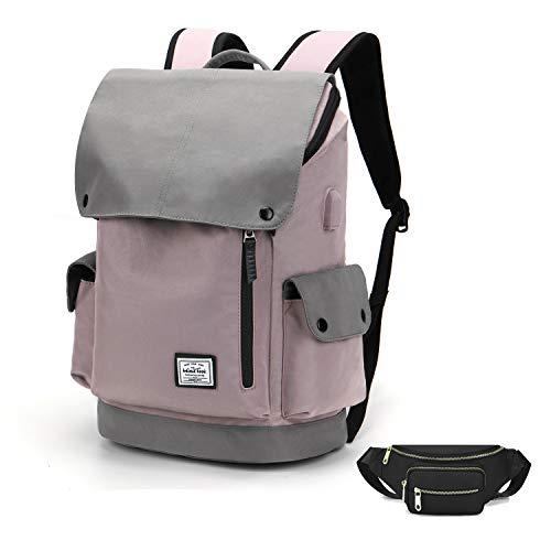 WindTook USB Anschluss Laptop Rucksack Damen Herren Daypack Schulrucksack für 15,6 Zoll Notebook, Wasserabweisend, 20L, 30 x 17 x 45cm, Lila mit Bauchtasche Schwarz, Geschenk
