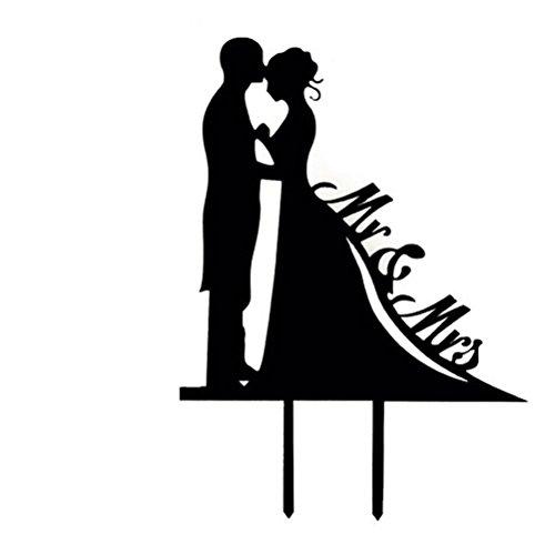 Tinksky Hochzeitstorte Topper Herr Frau mit Braut und Bräutigam Stil Cake Topper für Anniversary(Black)