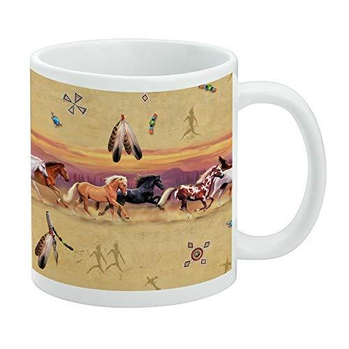 Divertida taza de café, Palamino Horses Running Border Pattern taza blanca, taza de té, taza de café, taza de café de 325 ml, taza de café regalo para mujeres y hombres