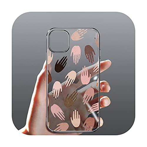 moda manos coloridas victoria teléfono caso transparente para el iPhone para Samsung 11 12 6 7 8 9 30 Pro X Max XR Plus lite-a1-iphone 11 pro